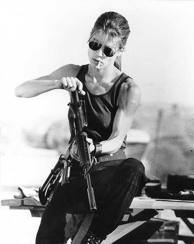 Sarah Connor (Linda Hamilton) in Terminator 2: Judgment Day
