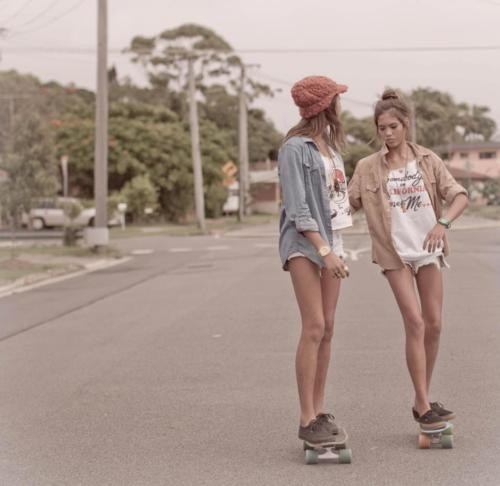 girls, summer, skating