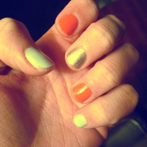 Mint, Coral and Silver nail polish