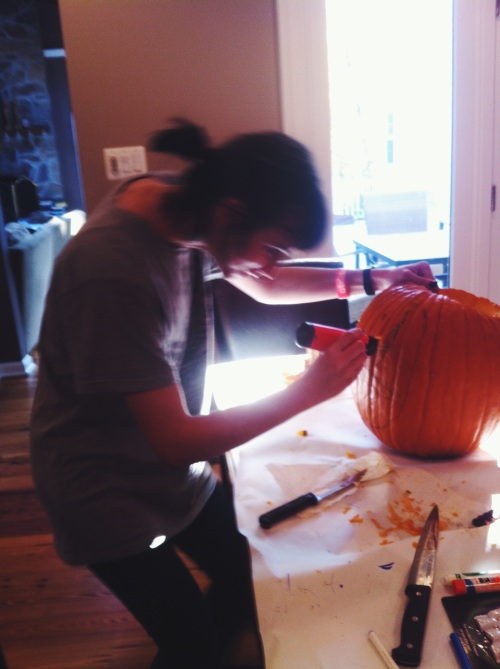 How to carve a pumpkin - be patient; even carving-specific tools are not fast.