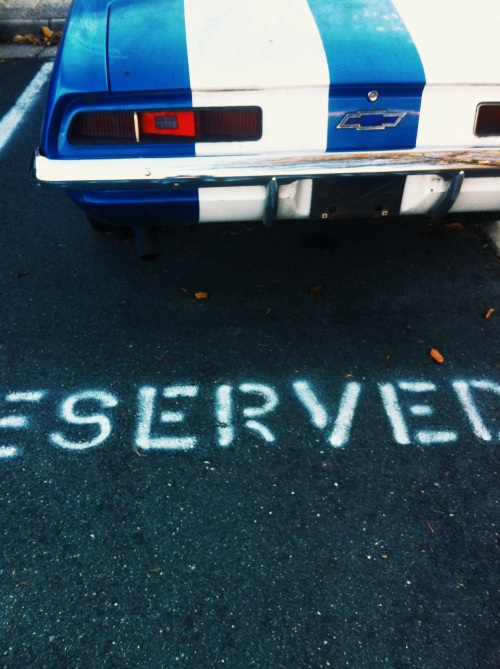 Reserved parking bay.