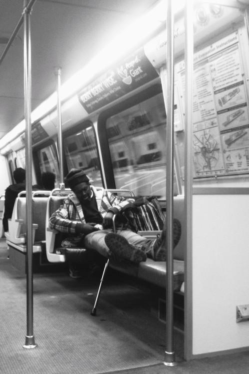 Strangers on the train - fast asleep.
