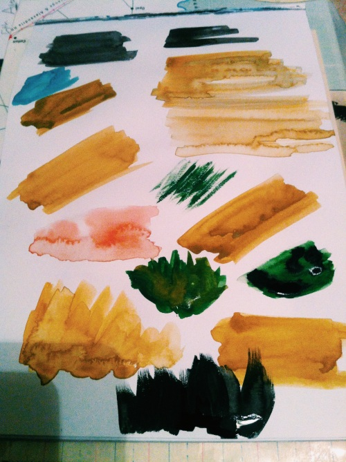 Painting with watercolours - a test sheet.