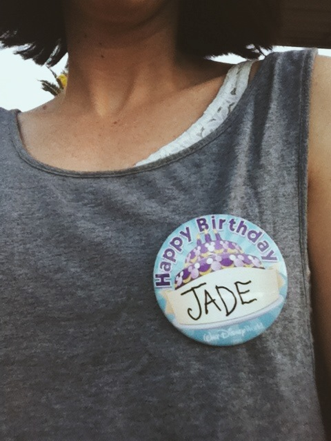 Happy birthday badge from Disney World.